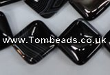 CAG2936 15.5 inches 18*18mm diamond black line agate beads