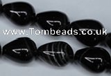 CAG2964 15.5 inches 13*18mm teardrop black line agate beads