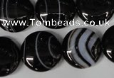 CAG2995 15.5 inches 18mm flat round black line agate beads