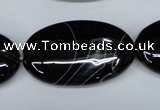 CAG3008 15.5 inches 20*35mm oval black line agate beads