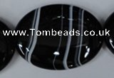 CAG3012 15.5 inches 30*40mm oval black line agate beads