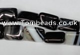 CAG3021 15.5 inches 10*14mm rectangle black line agate beads