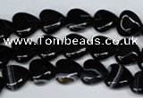 CAG3050 15.5 inches 10*10mm heart black line agate beads
