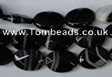 CAG3081 15.5 inches 10*14mm faceted oval black line agate beads