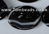 CAG3087 15.5 inches 25*35mm faceted oval black line agate beads