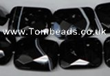 CAG3103 15.5 inches 15*20mm faceted rectangle black line agate beads
