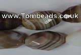 CAG3130 15.5 inches 12*25mm faceted rice brown line agate beads