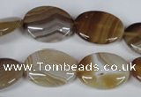 CAG3132 15.5 inches 12*16mm oval brown line agate beads