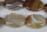 CAG3134 15.5 inches 15*20mm oval brown line agate beads