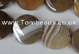 CAG3160 15.5 inches 20mm faceted & twisted coin brown line agate beads