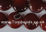 CAG3189 15.5 inches 18mm flat round red line agate beads