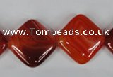 CAG3236 15.5 inches 20*20mm diamond red line agate beads