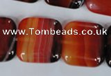 CAG3250 15.5 inches 22*22mm square red line agate beads