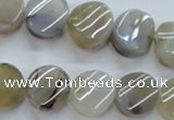 CAG3314 15.5 inches 14mm twisted coin natural grey agate beads