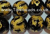 CAG3384 15.5 inches 18mm carved round black agate beads wholesale
