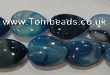 CAG3471 15.5 inches 15*20mm flat teardrop blue line agate beads