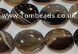 CAG3495 15.5 inches 15*20mm oval brown line agate beads