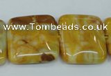 CAG3616 15.5 inches 25*25mm square yellow crazy lace agate beads