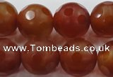 CAG3666 15.5 inches 18mm carved round matte red agate beads