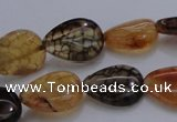 CAG4079 15.5 inches 10*14mm flat teardrop dragon veins agate beads