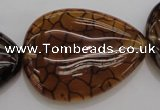CAG4086 15.5 inches 30*40mm flat teardrop dragon veins agate beads