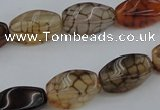 CAG4149 15.5 inches 6*12mm twisted rice dragon veins agate beads