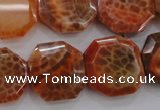 CAG4290 15.5 inches 20*20mm octagonal natural fire agate beads