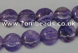 CAG4428 15.5 inches 12mm flat round dyed blue lace agate beads