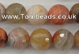 CAG4474 15.5 inches 12mm faceted round pink botswana agate beads