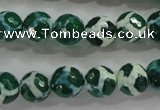 CAG4691 15.5 inches 10mm faceted round tibetan agate beads wholesale