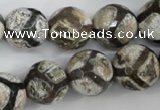 CAG4711 15 inches 16mm faceted round tibetan agate beads wholesale