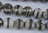 CAG4725 15 inches 12mm faceted round tibetan agate beads wholesale