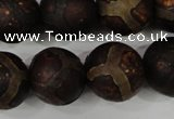 CAG4768 15 inches 16mm round tibetan agate beads wholesale