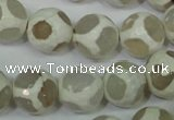 CAG4817 15 inches 12mm faceted round tibetan agate beads wholesale