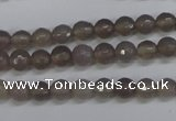 CAG4825 15 inches 6mm faceted round grey agate beads wholesale