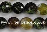CAG4845 15 inches 14mm faceted round dragon veins agate beads