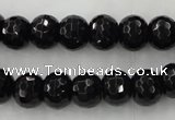 CAG5068 15.5 inches 8*10mm faceted rondelle black agate beads
