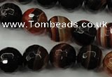 CAG5114 15.5 inches 12mm faceted round line agate beads wholesale