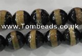 CAG5152 15 inches 12mm faceted round tibetan agate beads wholesale