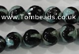 CAG5165 15 inches 12mm faceted round tibetan agate beads wholesale