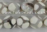 CAG5336 15.5 inches 14mm faceted round tibetan agate beads wholesale
