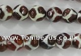 CAG5339 15.5 inches 10mm faceted round tibetan agate beads wholesale