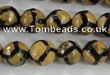 CAG5345 15.5 inches 12mm faceted round tibetan agate beads wholesale