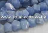 CAG557 16 inches 8*12mm faceted freeform blue agate beads wholesale