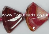 CAG5582 15 inches 25*32mm faceted triangle dragon veins agate beads