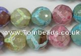 CAG5894 15 inches 14mm faceted round tibetan agate beads wholesale