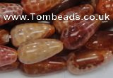 CAG594 15.5 inches 10*20mm teardrop natural fire agate beads