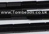 CAG6035 15.5 inches 6*12mm faceted tube matte black agate beads