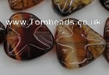 CAG6075 15.5 inches 20mm wavy triangle dragon veins agate beads