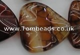 CAG6077 15.5 inches 40mm wavy triangle dragon veins agate beads